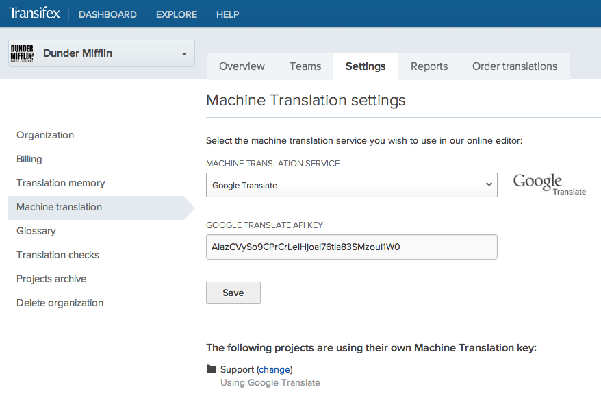 Machine Translation Settings